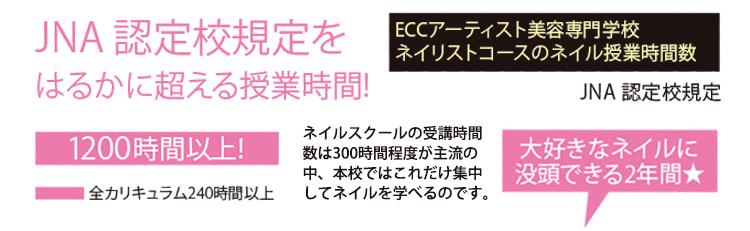 ECCアーティスト美容専門学校ネイリストコースのネイル授業時間数